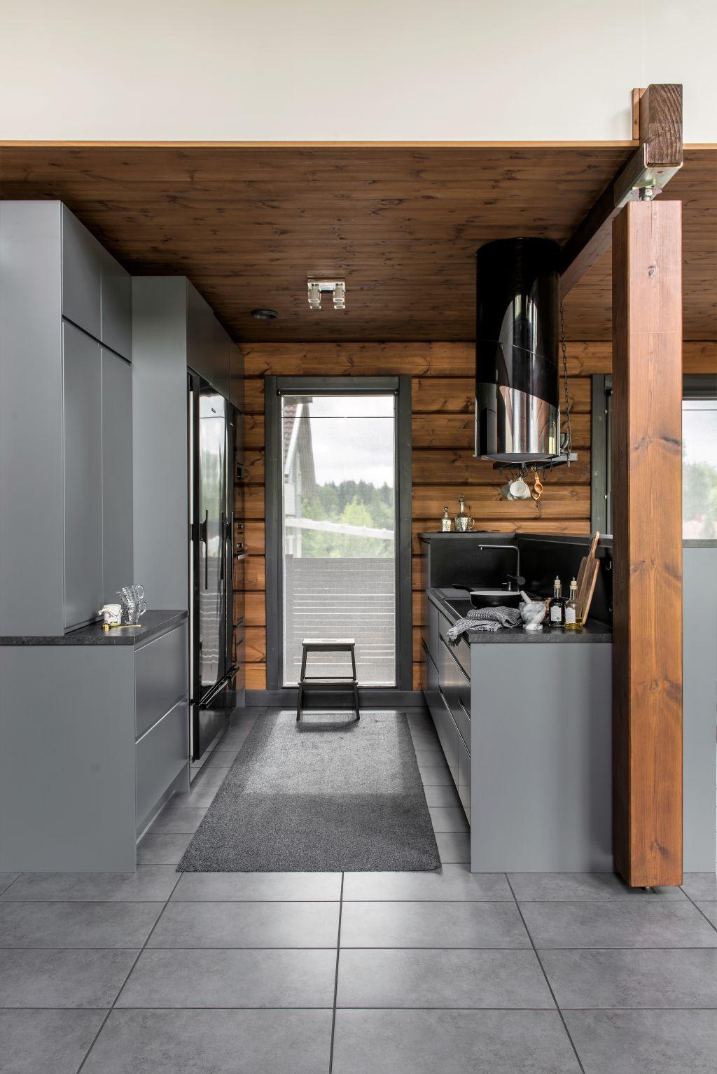 A dark grey kitchen