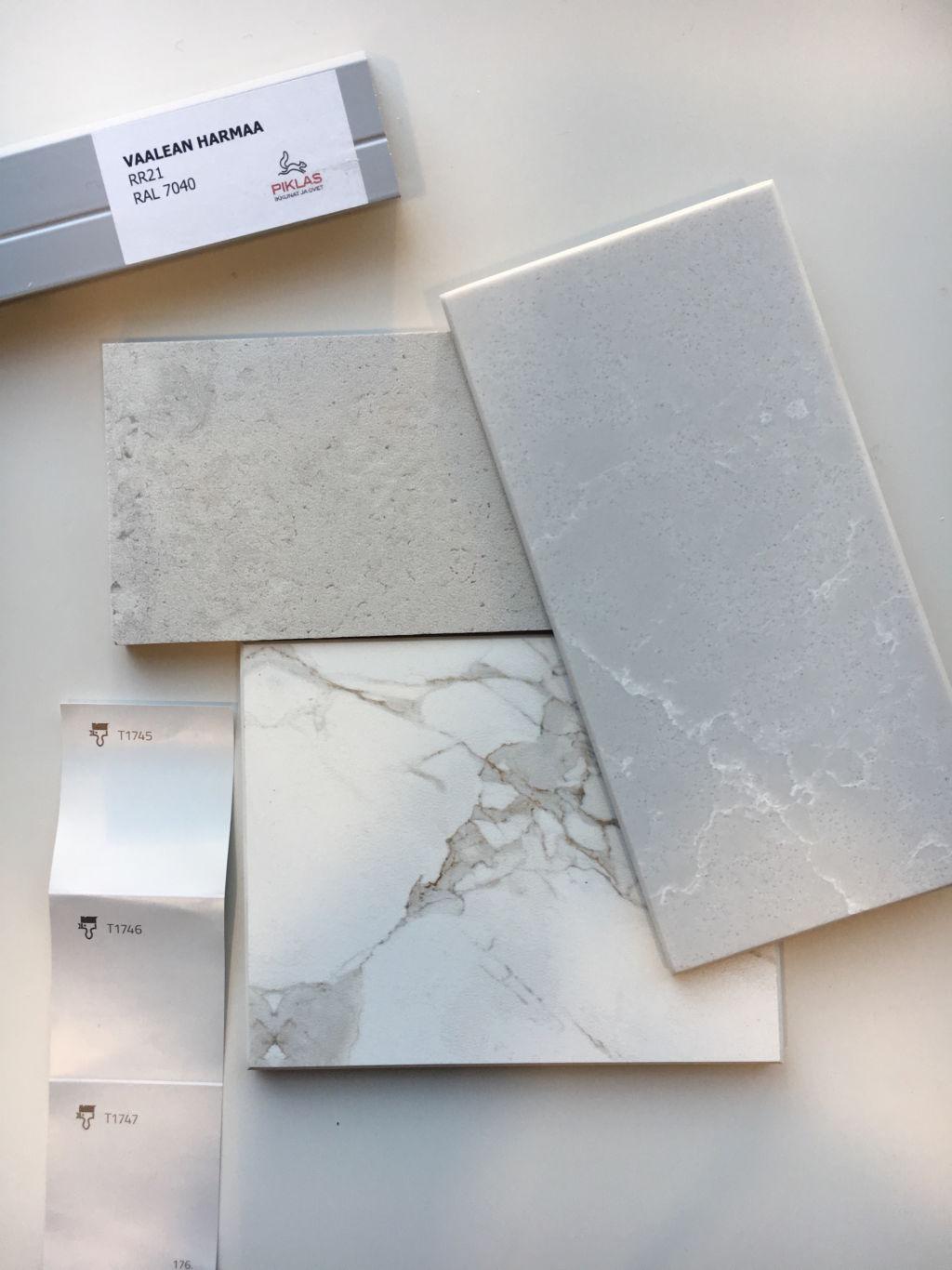 Cosentinon valikoimasta löytyi tasojen materiaaliksi sekä Dekton että Silestone.