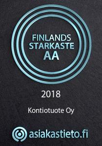 Kontio är ett av Finlands Starkaste. Finlands Starkaste certifikatet är ett tecken på hållbart samarbete