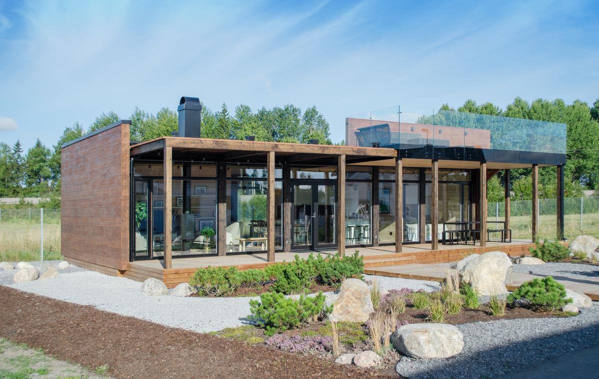 Kontios visningshus Glass House 80 på Nybygget vid Arlanda