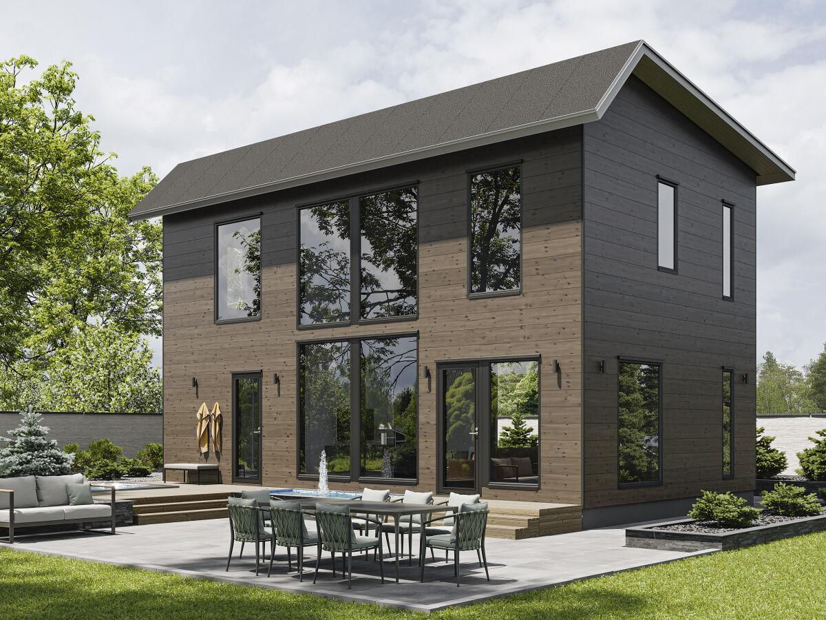 Kontio Hill House 124A, epäsymmetrinen harjakatto.