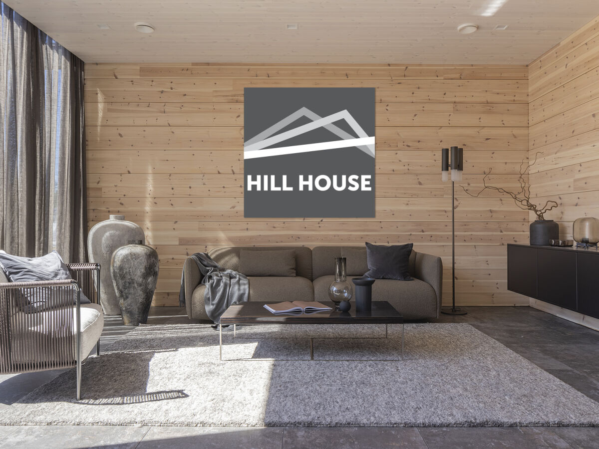Hill House näkymä keittiöstä olohuoneeseen.
