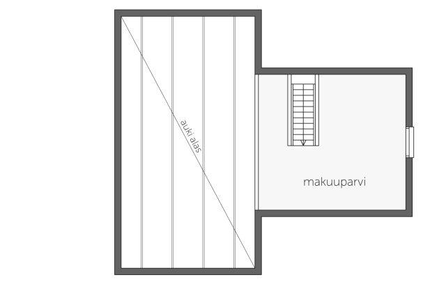 Malli voidaan toteuttaa myös koko rakennuksen mittaisella Parvi 2:lla, kts. Kantola B.