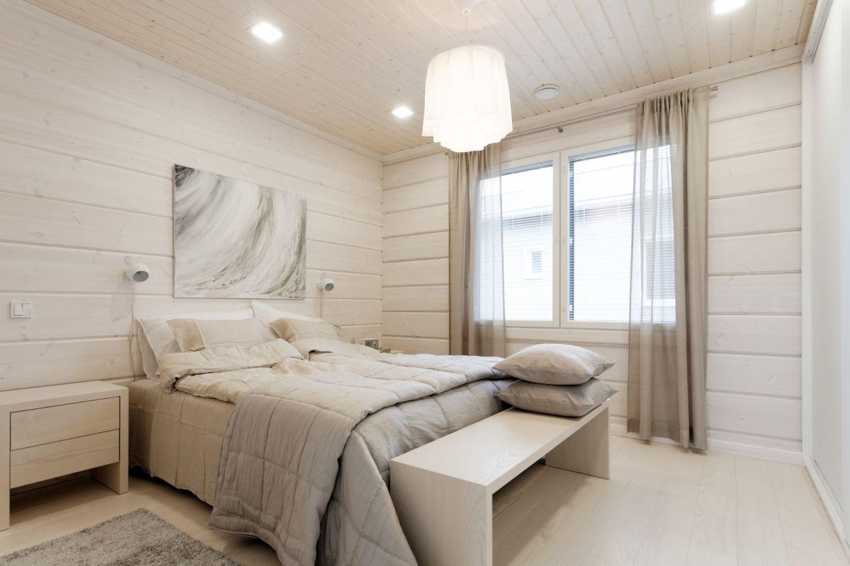 På soverommet er det ikke behov for effektfulle fargekontraster.