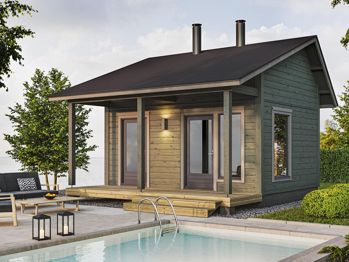 Nalle 20 sauna toteutettuna epäsymmetrisellä harjakatolla.