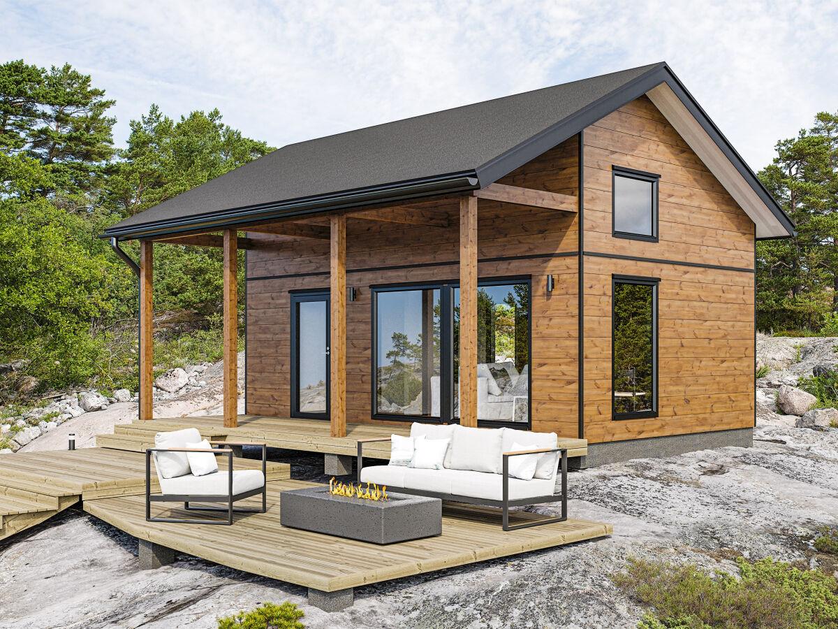 Kontio Nalle 30 mökki toteutettuna harjakatolla ja parvella. SmartLog hirren myötä arkkitehtuuriltaan moderni rakennus.