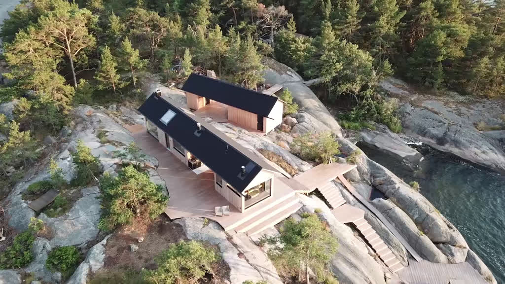 Aerial photo of log house